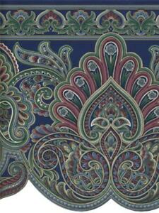 VICTORIAN PAISLEY BLUES , BURGUNDY AND GREEN SCULPTURED WALLPAPER BORDER-30FT