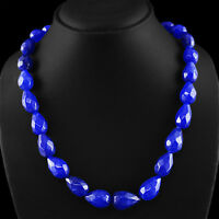 489.90 CTS EARTH MINED PEAR SHAPED FACETED RICH BLUE SAPPHIRE BEADS NECKLACE