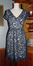 Alya Open Lace Dress Small Blue with Beige Underlay Cap Sleeves Double V Neck