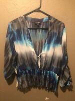 Bebe Women's Blouse, size L Blue Black Gray White polyester