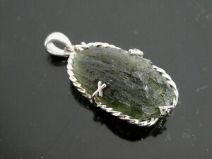 Natural Genuine Green Moldavite Gemstone Sterling Silver 925 Pendant Necklace