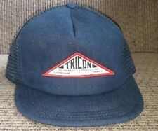 Vintage Denim Trucker Hat Tricon Metals Patch Snapback Made In Usa Baseball Cap