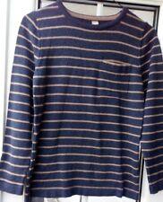 Boy's long sleeved striped Jumper - Navy & Beige - age 11 years by TU