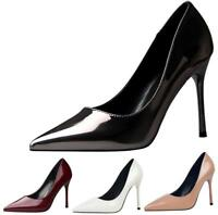 Women Classic Pumps Pointed Toe Patent High Heels Stilettos Slip On Party Shoes