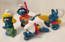 Lot of 4 Smurfs MERMAID Swimmer SURFER Scuba Diver