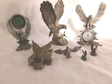 Pewter/Silver plated Eagle Figurine Collectibles Lot of 7 Statues