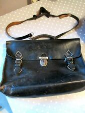 Vintage 1950s School Bag Satchel Style Briefcase BLACK Leather, Good Distressed