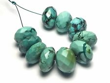 10 pcs TIBETAN TURQUOISE 13-15mm Faceted Rondelle Beads NATURAL COLOR /r4
