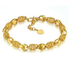 18K Gold Plated Bracelet- 18+4cm Adjustable Link Chain Women Bracelets +gift Bag