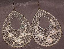 Vintage Runway Silver Rhinestone Flower Filigree Hoop Dangle Earring