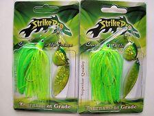 2 pack - 1/2 oz. & 5/8 oz. StrikePro Spinnerbaits - LEMON LIME - Bass Fishing