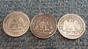 3 OLD MEXICAN SILVER 25 CENTAVO COINS DATING FROM 1877 (2-PH RARE) AND 1871!