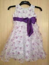 Girls Toddler Bridesmaid Dresses Flower Girl Party Dress Floral Purple White Bow