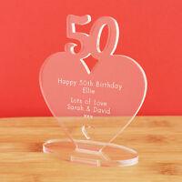 50th Birthday Personalised Milestone Heart Keepsake Gift Idea for HIM OR HER!