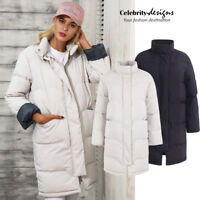 Women's Cotton Quilted Longline Puffer Jacket Coat Black White Australia 12 14