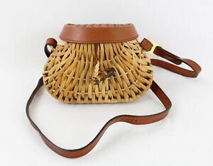 Bottega Veneta Beige Wicker Brown Leather Mini Crossbody Shoulder Bag