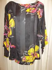 GF FERRE Signature Black Floral SILK Tunic Blouse TOP Shirt Women's Size SMALL