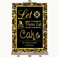 Black & Gold Damask Let Them Eat Cake Personalised Wedding Sign