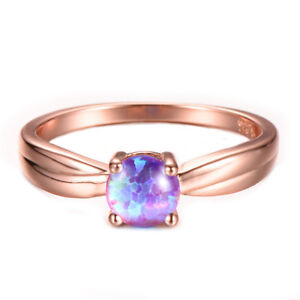 Wedding Party Gift Pink Fire Opal Rose Gold Plated Silver Round Ring Size 7-10