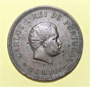 Portuguese India 1/2 Tanga 1903 (MCMIII) Fine / Very Fine Copper Coin - Carlos I