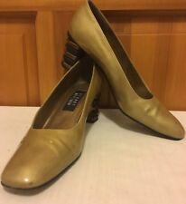 STUART WEITZMAN Tan Patent Leather Bronze Trim Pumps Heels Women's 8 1/2 AAA