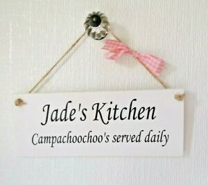 Handmade Wooden Personalised Kitchen Chalk Painted Gift Plaque/Sign