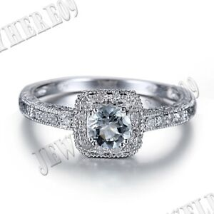 Solid 14K White Gold Pave Prong Setting Aquamarine Natural SI/H Diamonds Ring