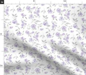 Flowers Floral Purple Poppies Lilac Watercolor Spoonflower Fabric by the Yard