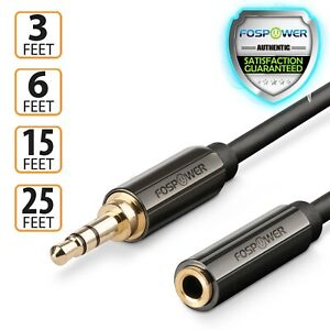 FosPower 3 6 15 25 FT 3.5mm Male Female Headphone Stereo Audio Extension Cable