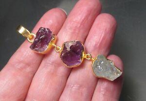 Gold plated brass linked amethyst & aquamarine pendant. Gift bag.