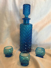 "Collectible Rare Cobalt Blue Glass Decanter Bottle w/3 Shot Glasses 13"" Tall"