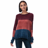 Womens Brave Soul Chenille Colourblock Jumper in mulberry / copper / dark navy.