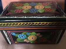 Pretty Wooden Trinket Box Colourfully Decorated With Stylised Flowers,Russian ?