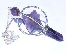 Amethyst Spinning Merkaba Pendulum Dowsing Healing Chakra Balancing Reiki A+
