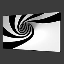 "BLACK & WHITE SWIRL MODERN WALL HANGING PICTURE CANVAS PRINT 20""x16"" FREE UK P&P"