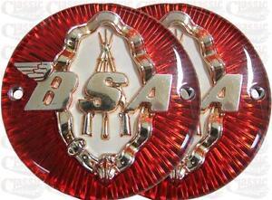 BSA C12 Round Tank Badges Red/Gold