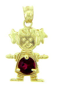Fine Yellow Gold July Birthstone Ruby Red Round CZ Baby Girl Charm Pendant