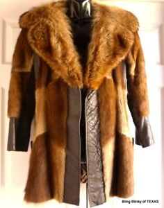 Leather Coat Fur Collar  Petite Small Size Vintage 1960s Mid Century