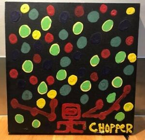"Original oil painting by Mark 'Chopper' Read ""The Balloon Man"""