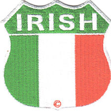 IRISH FLAG SHIELD, MOTORCYCLE, BIKER, VEST/Iron On Embroidered Patch Ireland