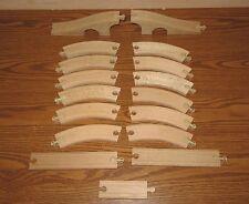 Lot of 17 Wood Wooden Train Tracks Curve Straight Arch Bridge - 2.25 Lbs