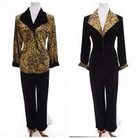 Chico's Travelers 1 Sz M Acetate Reversible Jacket Pant Set Leopard Print Black
