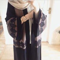 Dubai Lace Womens Long Robe Turkish Kaftan Abaya Muslim Dress Arab Cardigan Gown