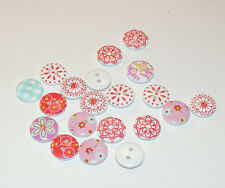 Round wooden 2 hole button mixed set of 20 (12677)