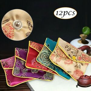 12pcs Brocade Embroidery Silk-Purse Pouch Gift-Bags For Storage Jewelry Pendants