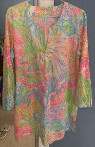 Lilly Pulitzer 100% Cotton Tunic Top Swim Cover Up Medium Dress Lightweight New