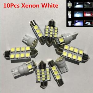 10Pcs Xenon White LED Car Interior Lights Map Dome License Plate Lamp Bulbs Kit