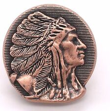"Right Facing Chief Head Concho Antique Copper 1-1/2"" 3668-10 by Stecksstore"