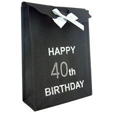 Happy 40th Birthday Glitzy Gift Present Bag in Black & Silver Diamante Stones