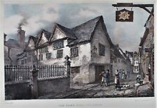 OLD ANTIQUE PRINT LEICESTER TOWN HALL c1820's LITHOGRAPH by J FLOWER